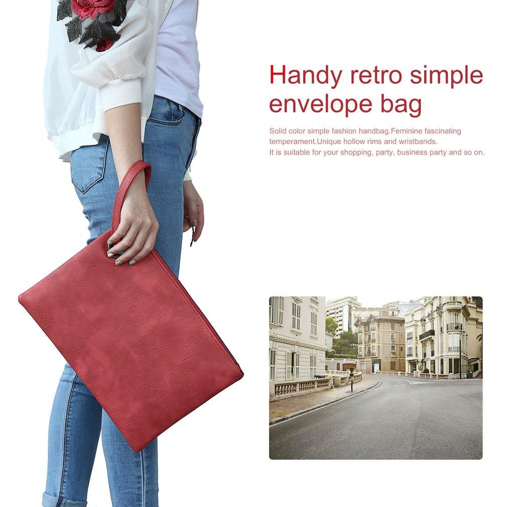 Fashion Feminine Solid Leather Clutch Bag Envelope Evening Bag Handbag