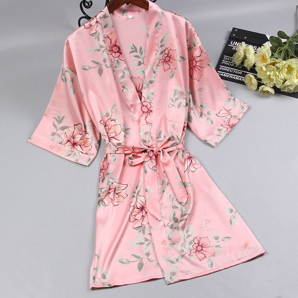 Floral Printed Summer Bathrobes Ladies Fashionable Robe Female Home Sleep Robe