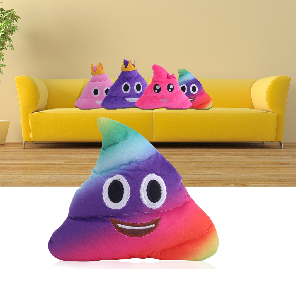 Amusing Emoji Emoticon Cushion Heart Eyes Poo Shape Multicolor Doll Toy Gift