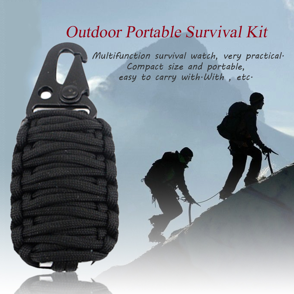 EMAK Outdoor Camping Survival Kit Fire Starter 7 Core Parachute Rescue Rope
