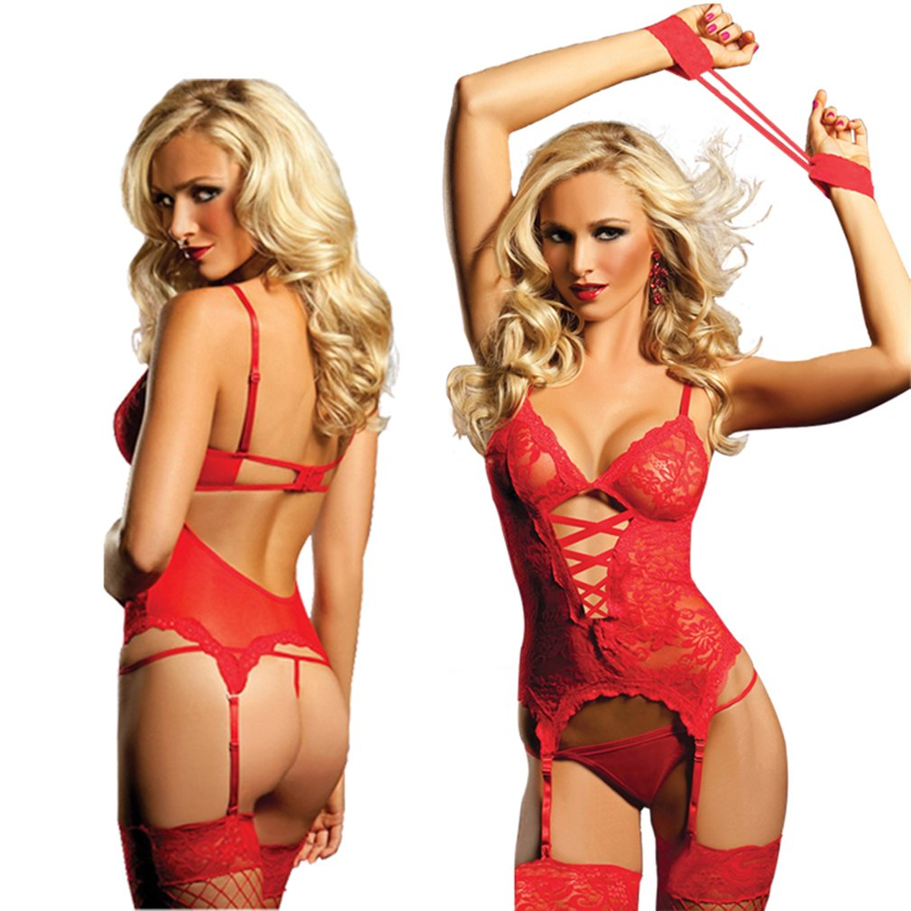 Fashion Hollow Lace Sexy Lingerie Costume Sexy Ladies Role Playing Clothes Set