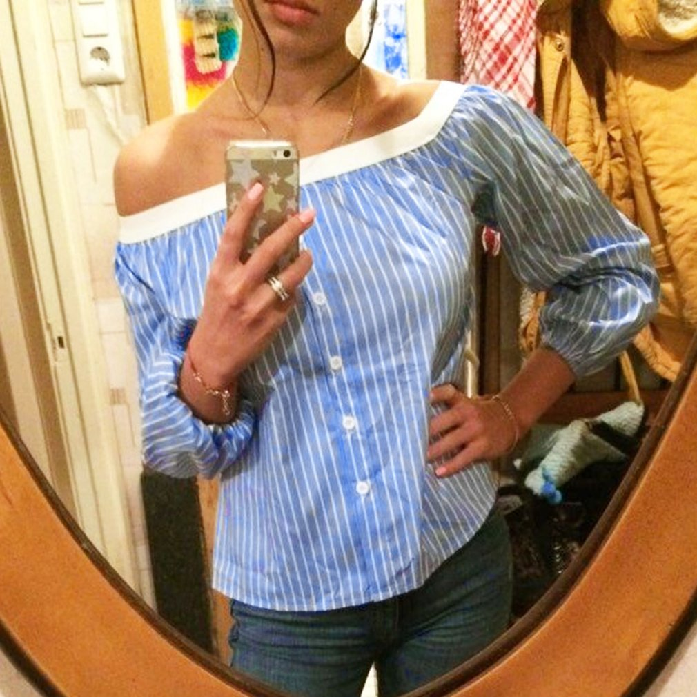 Stylish Ladies Blouse Off-shoulder Sexy Shirt Blue & White Stripe Fashion Female Tops Casual Summer Clothes