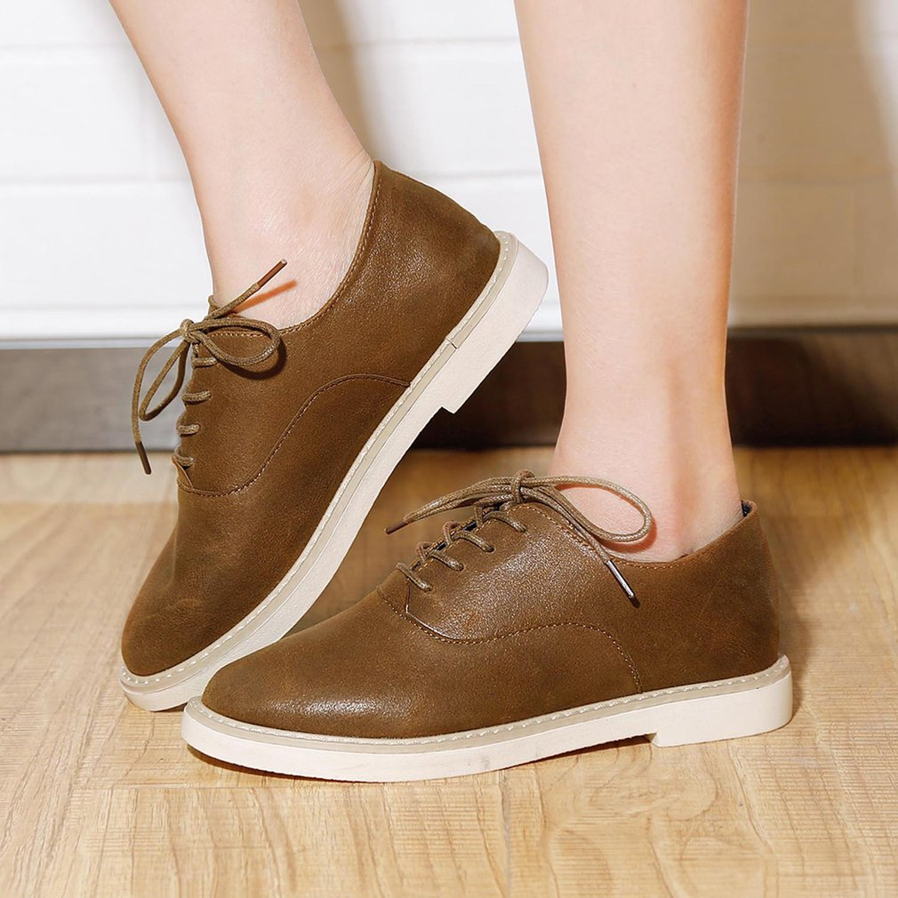 Renben Girls Classic Leather Flat Heel Casual British Preppy Style Nude Shoes