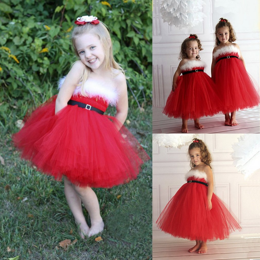 Kids Baby Girl Red Tiered Layer Gauze Wrapped Chest Ruffle Skirt Dress