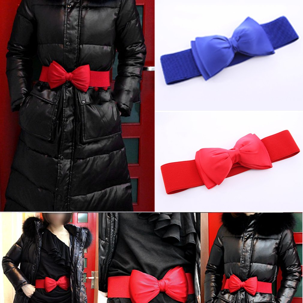 Women's Elegant Bow knot Stretchable Wide Waistband, Red
