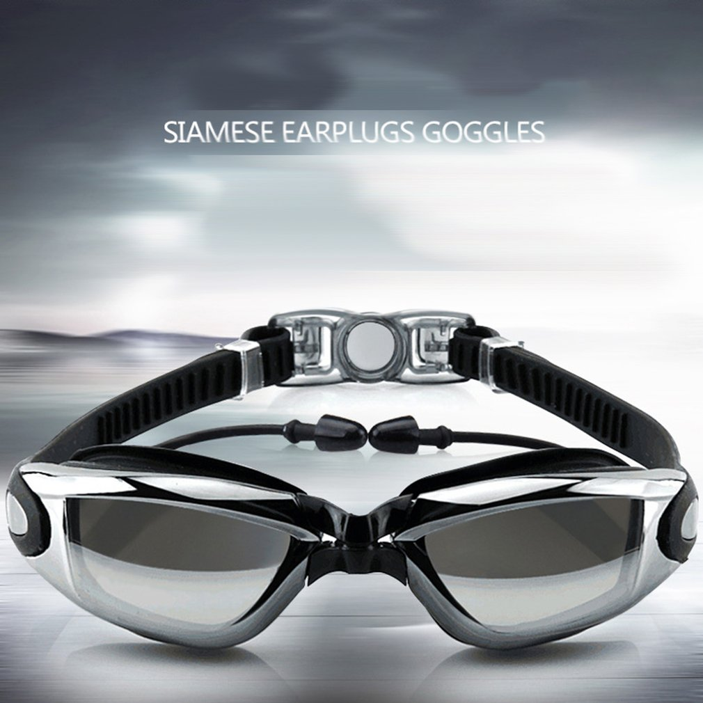 Swimming Goggles With Earplug Unisex No Leaking Anti-fog With Storage Case