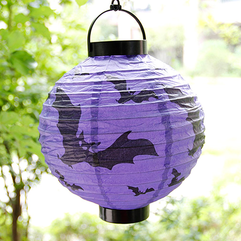 Halloween LED Paper Hanging Lantern DIY Holiday Party Scary Decoration
