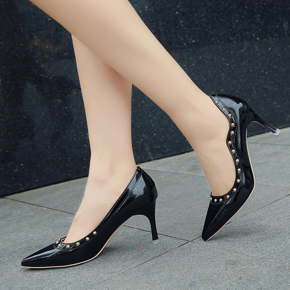 Women Soft PU Leather High Heels Dress Shoes Sexy Party Pointed Toe Shoes