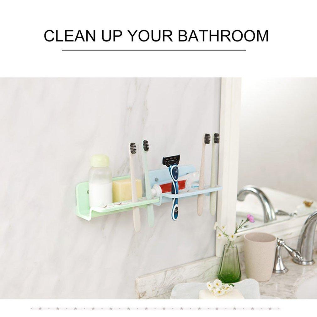 Wall Dual Sucker Bathroom Toothbrush Holder Storage Rack Multifunction Shelf