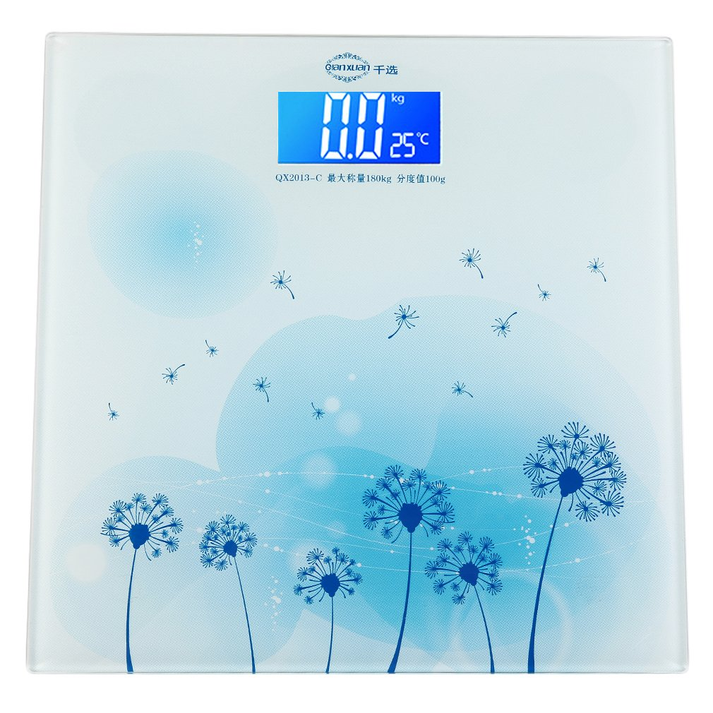 180 KG Square Electronic Digital Body Scale Digital Weight Scale Blue Flower