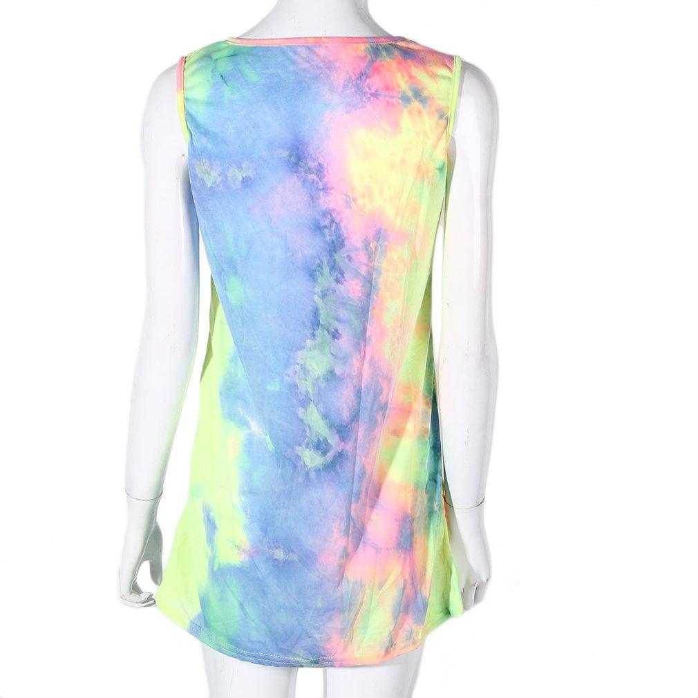 Fashion Summer Women  Tie-dyed Short Dress O-neck Sleeveless Loose Sexy Dress