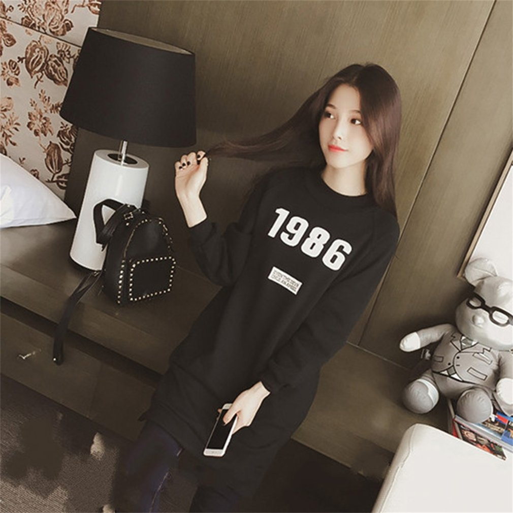 Autumn Winter Women Preppy Chic Long Sleeve 1986 Letters Embroidery Pullover