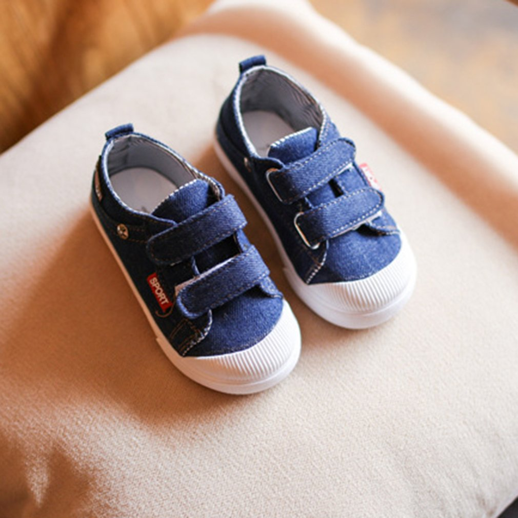 Fashion Baby Boys Girls Canvas Shoes All-match Magic Tape Walking Sneakers