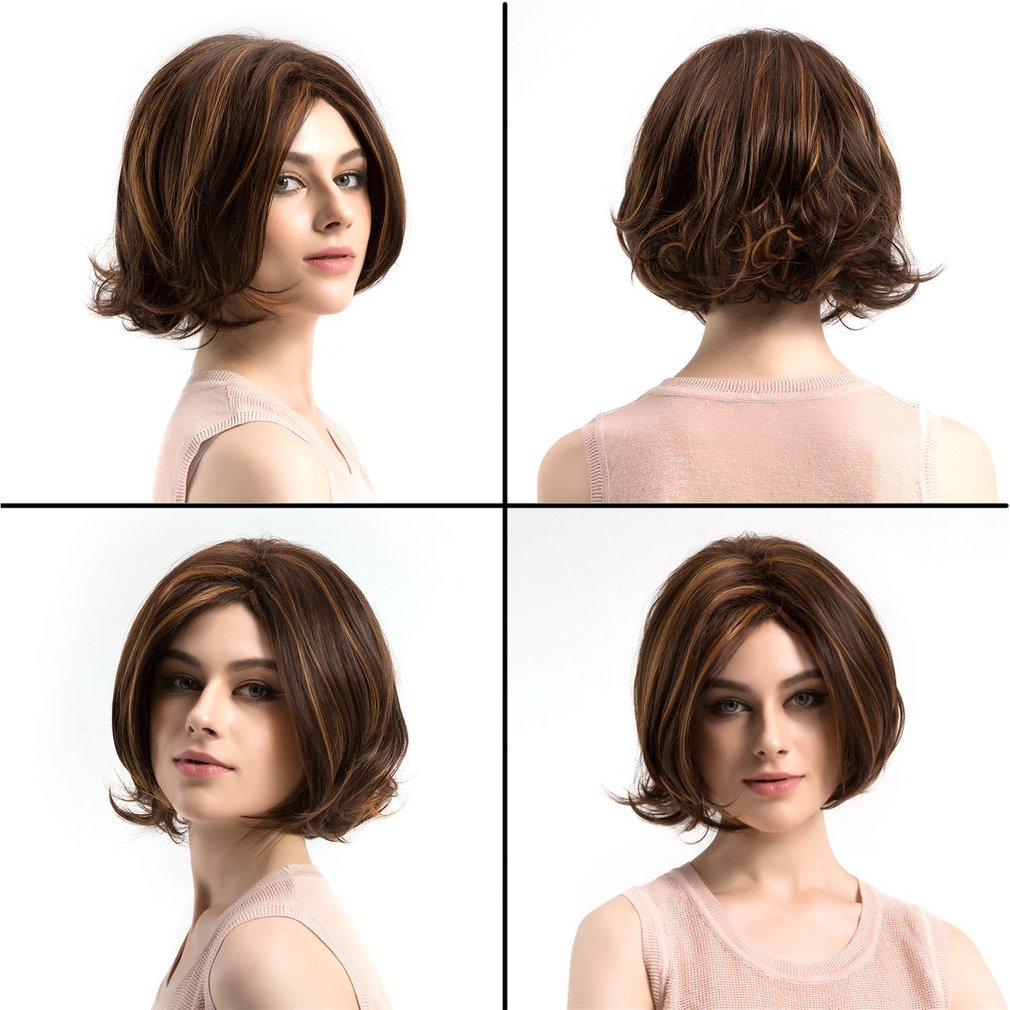 WIG365 Short Women Wavy Fluffy Wigs Natural Mixed Color Synthetic Hair Wig
