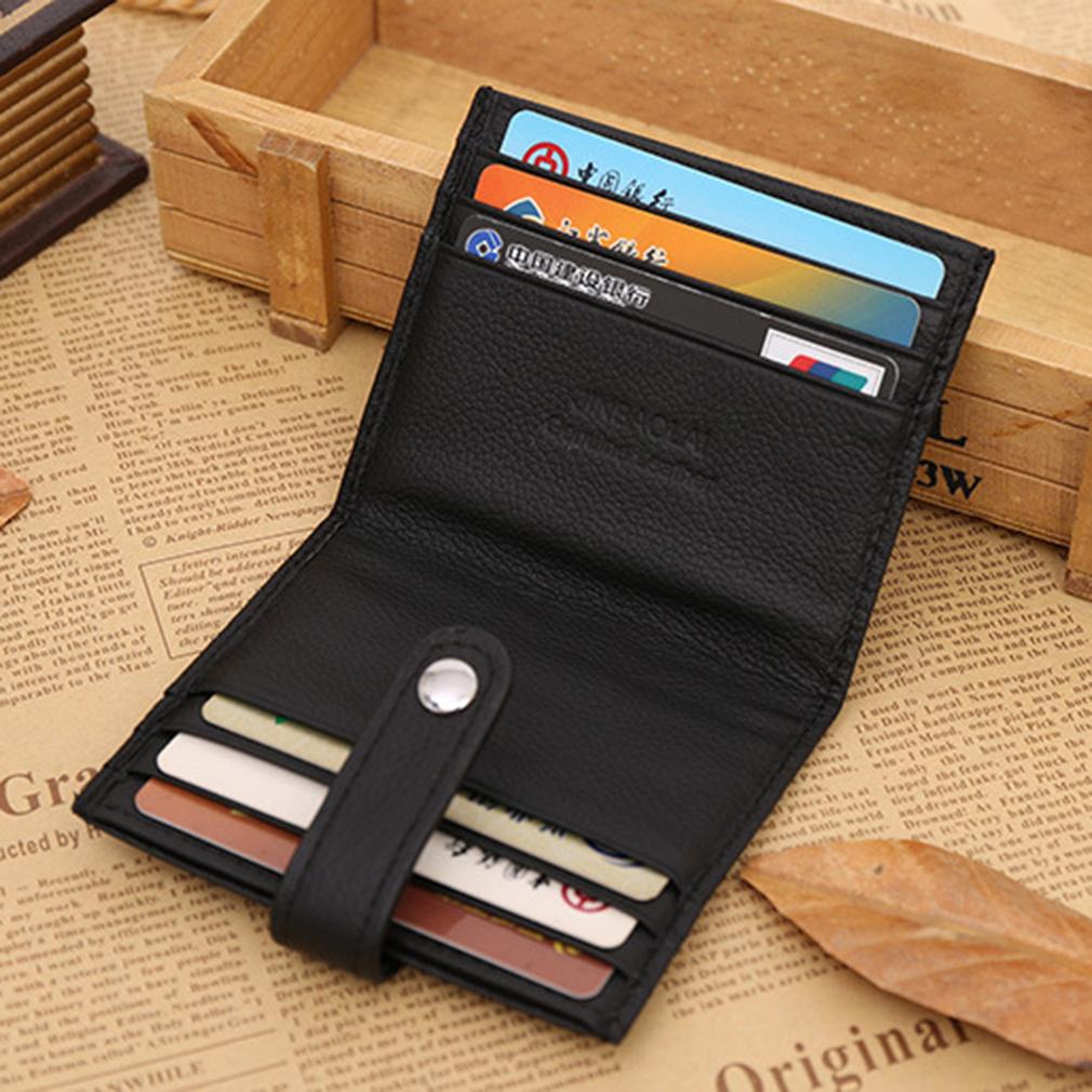 JINBAOLAI 12 Card Slots PU Leather Men Coin Solid Button Closure Card Holder
