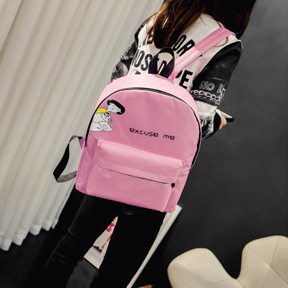 Stylish Women'S Canvas Backpack Excuse Me School Bag Lady'S Travel Satchel