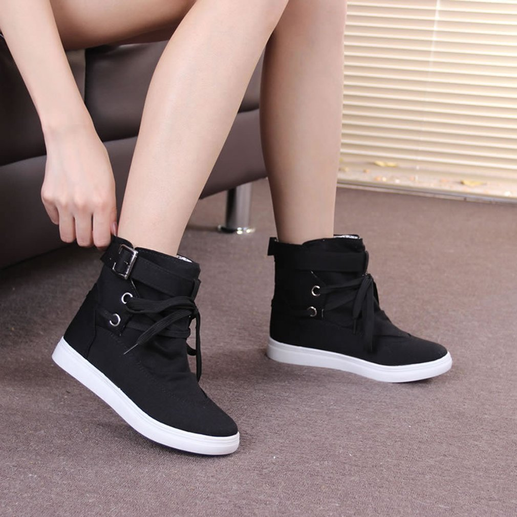 Women Ankle Boots Autumn Winter Ladies Sweet Girls Lace Up Cloth Boots Shoes