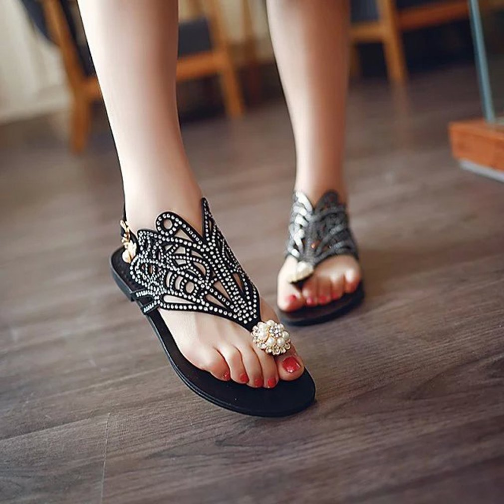 Luxury Rhinestone Summer Woman Sandals Flat Shoes Fashion All-match Style Open Toe Slip-on Slippers Casual Wear Shoes