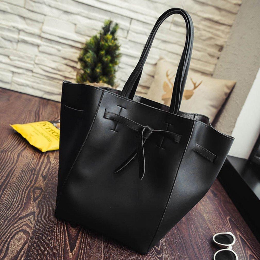 2PCS/SET Women PU Leather Composite Bag Large Capacity Simple Solid Color Female Lady Handbag Single Shoulder Bag