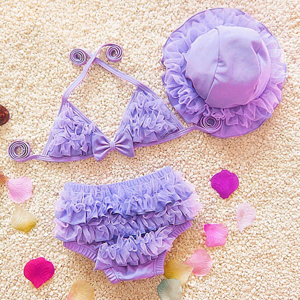 3pcs Summer Girls Swimwear Solid Children Bikini Swimsuit Cap Hat Set Beach