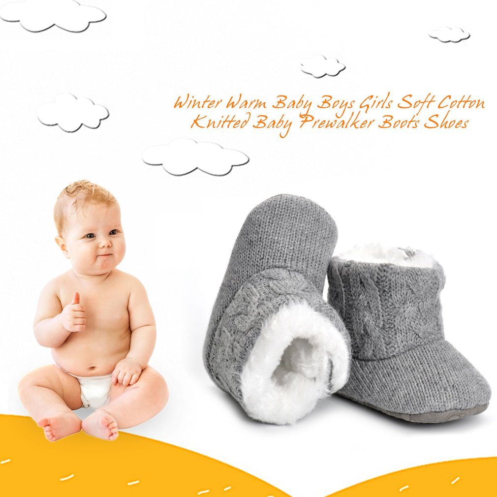 Winter Warm Baby Boys Girls Soft Cotton Knitted Baby Prewalker Boots Shoes