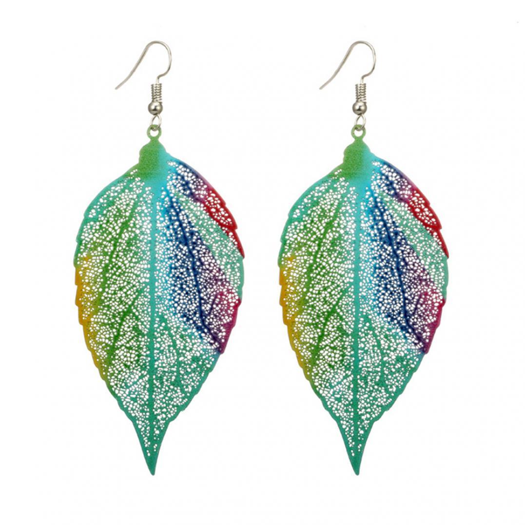 Women's Colorful Leaf Drop Hook Earrings