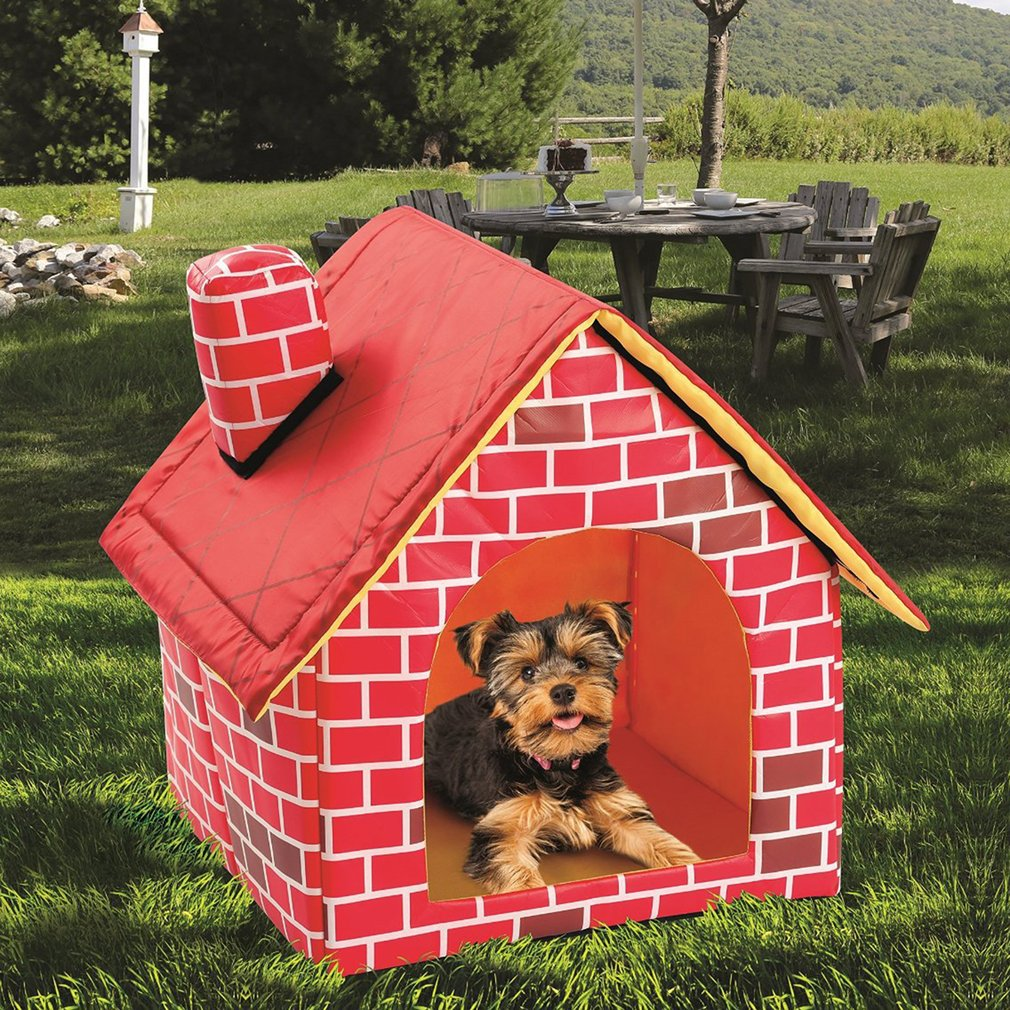 Portable Brick Pet House With Chimney Warm And Cozy Dog Cat Bed Detachable Washable Pet Tent Suitable For All Seasons