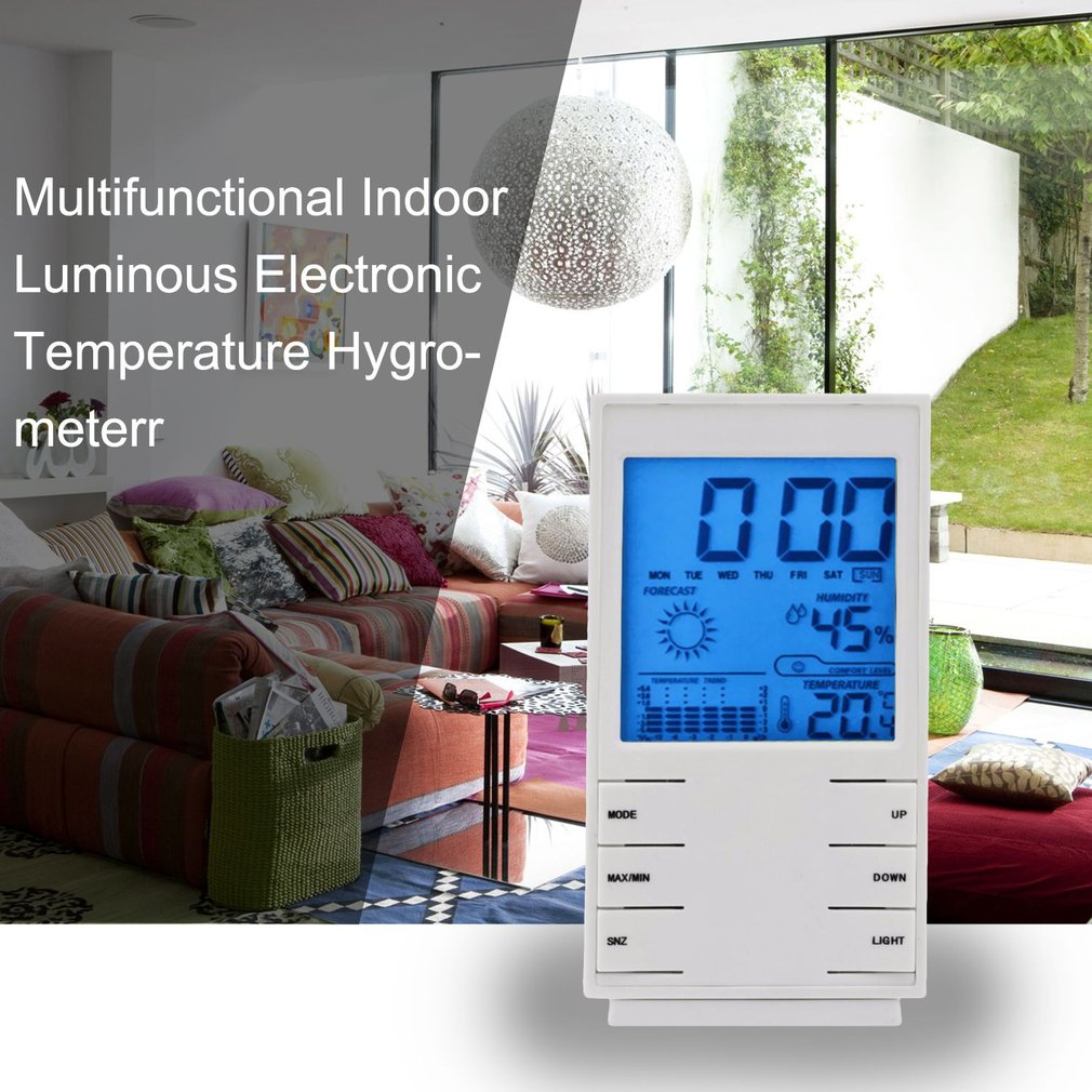 Multifunctional Hygrometer Thermometer LED Backlight Clock Baby Health Care