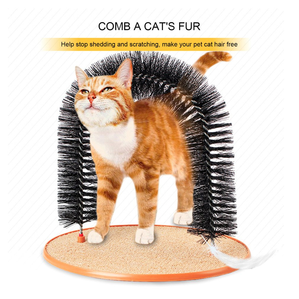 Practical Home Pet Cat Self Groomer Plastic Bristles Purrfect Arch Massager