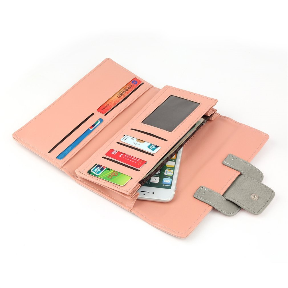 Women Long Wallet PU Leather Hasp Clutch Purses Ladies Coin Wallet Card Holder