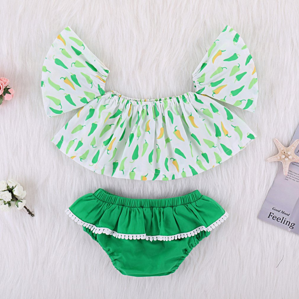 Small Pepper Style Babys Girl T-Shirt Top Briefs Shorts Outfit Clothes Set