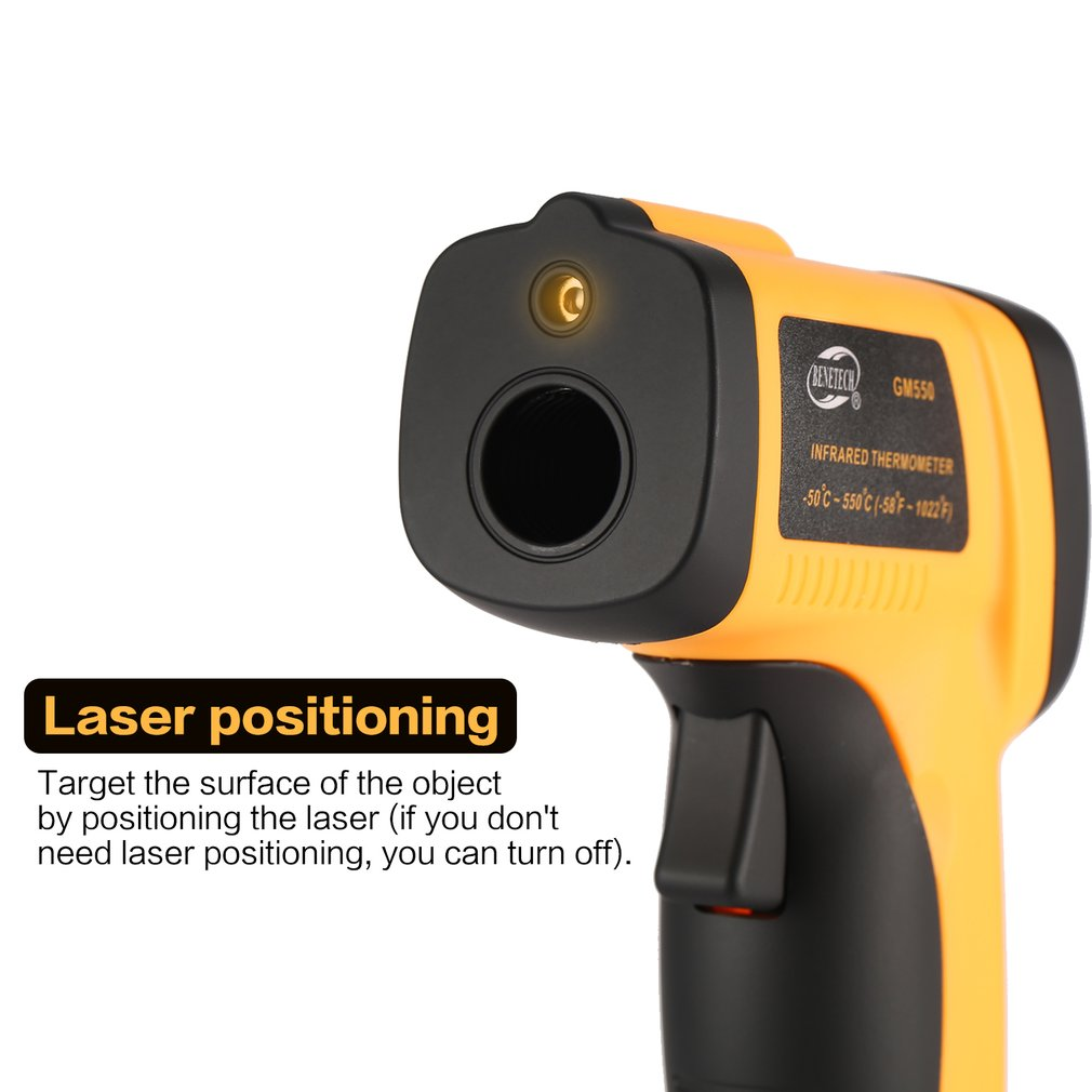BENETECH GM550 LCD Non-Contact IR Laser Infrared Temperature Thermometer Gun