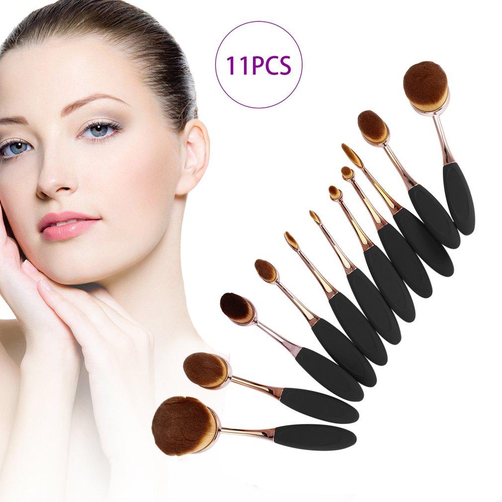 11pcs Toothbrush Shaped Foundation Powder Makeup Oval Cream Puff Brushes Set