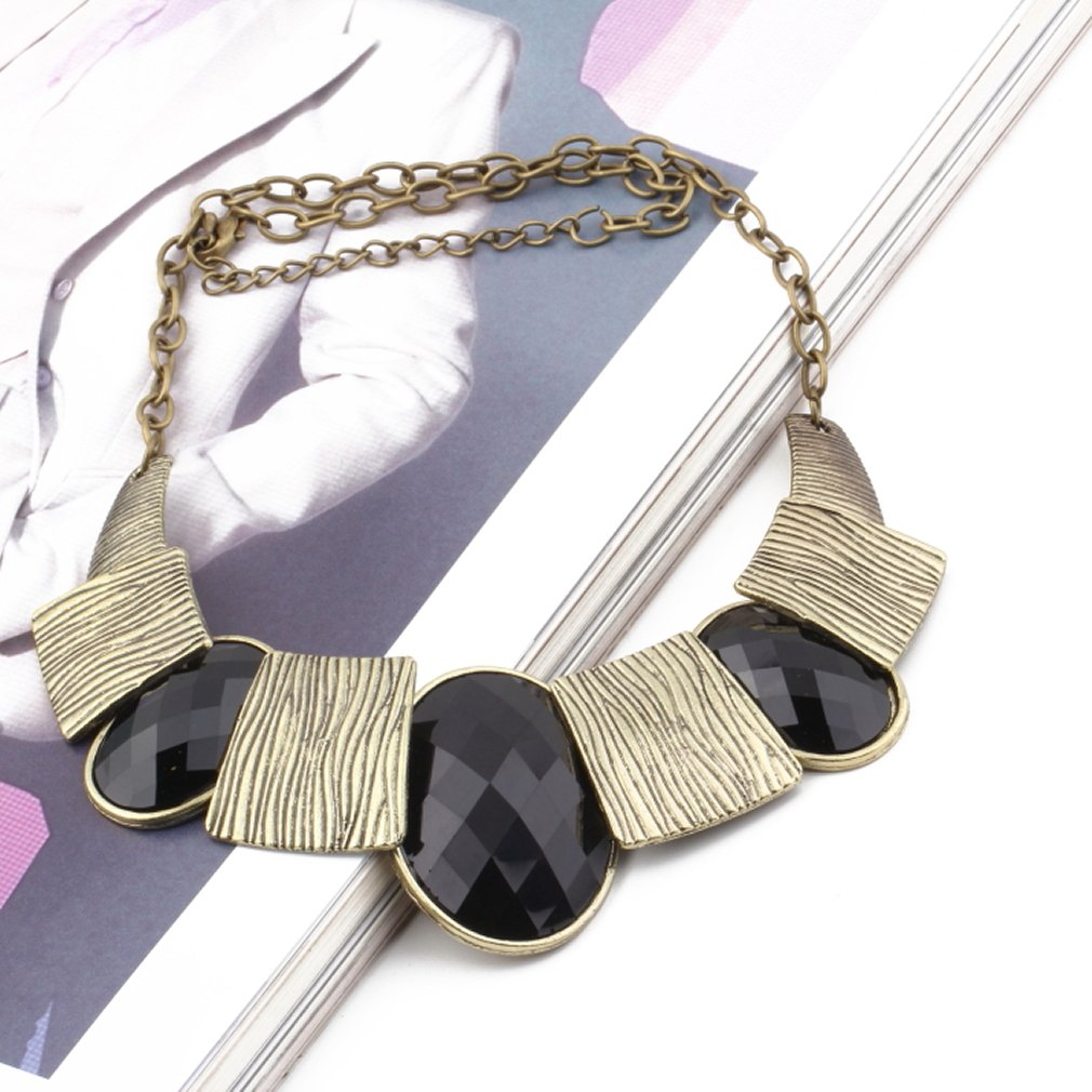 Lady Bib Statement Temperament Exaggerated Gemstone Chunky Charm Necklace