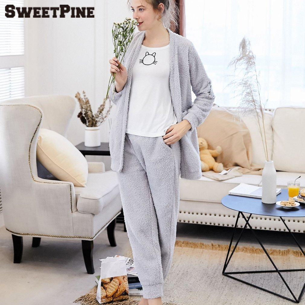 SWEETPINE Nightwear Pajamas Sleepwear Suit Soft Nightgown Cute Casual 2 Pieces