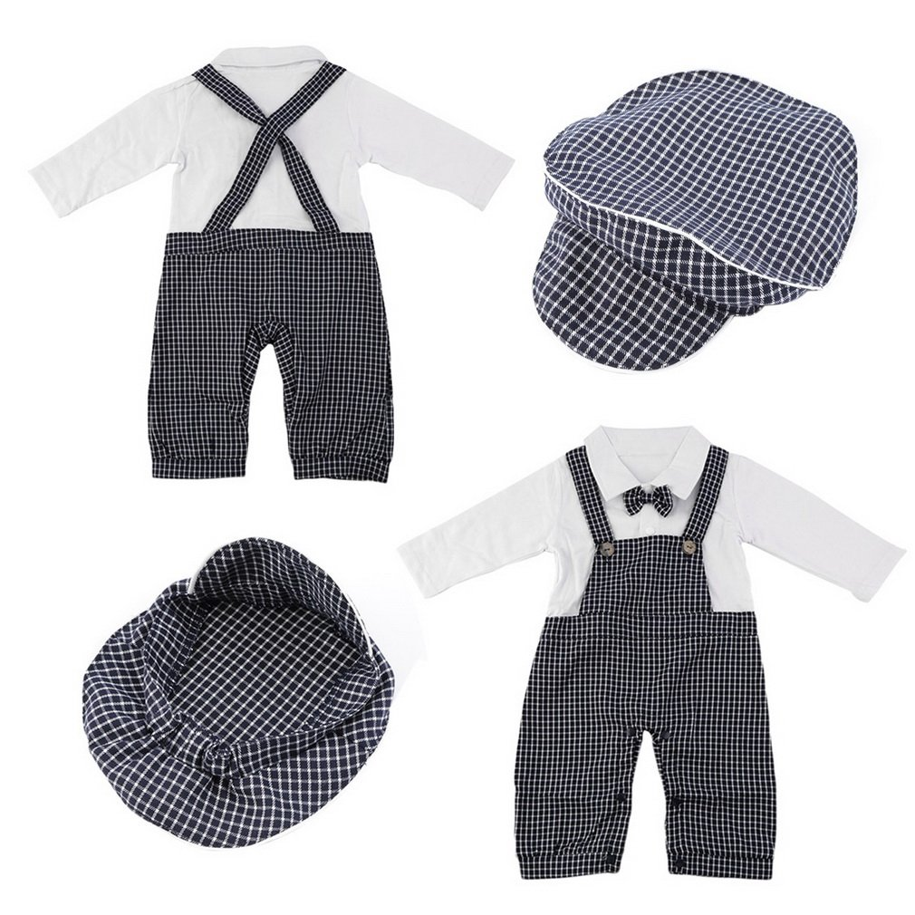 Baby Boy Formal Set Romper Fake Plaid Strap & Cap for Party Wedding