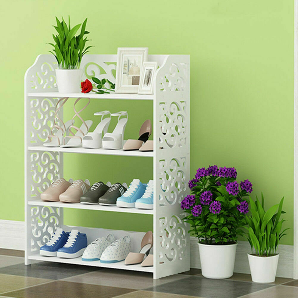 4 Tier Shoe Rack Shelf Storage Stand Organizer Cabinet Closet Bookshelf Furniture