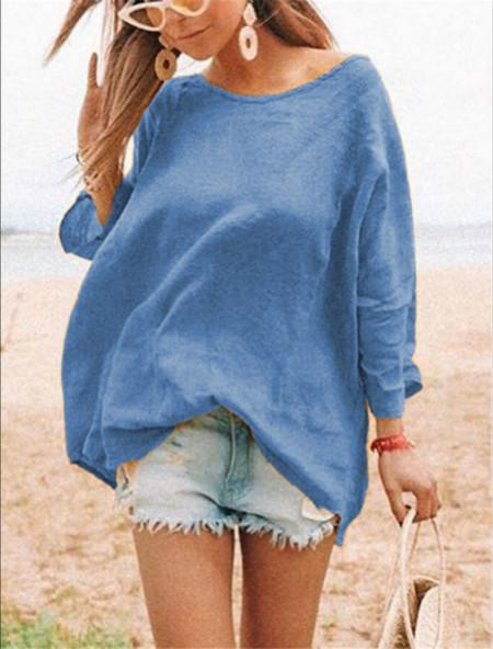 Cotton Lightweight Round Neck Daily Casual Top