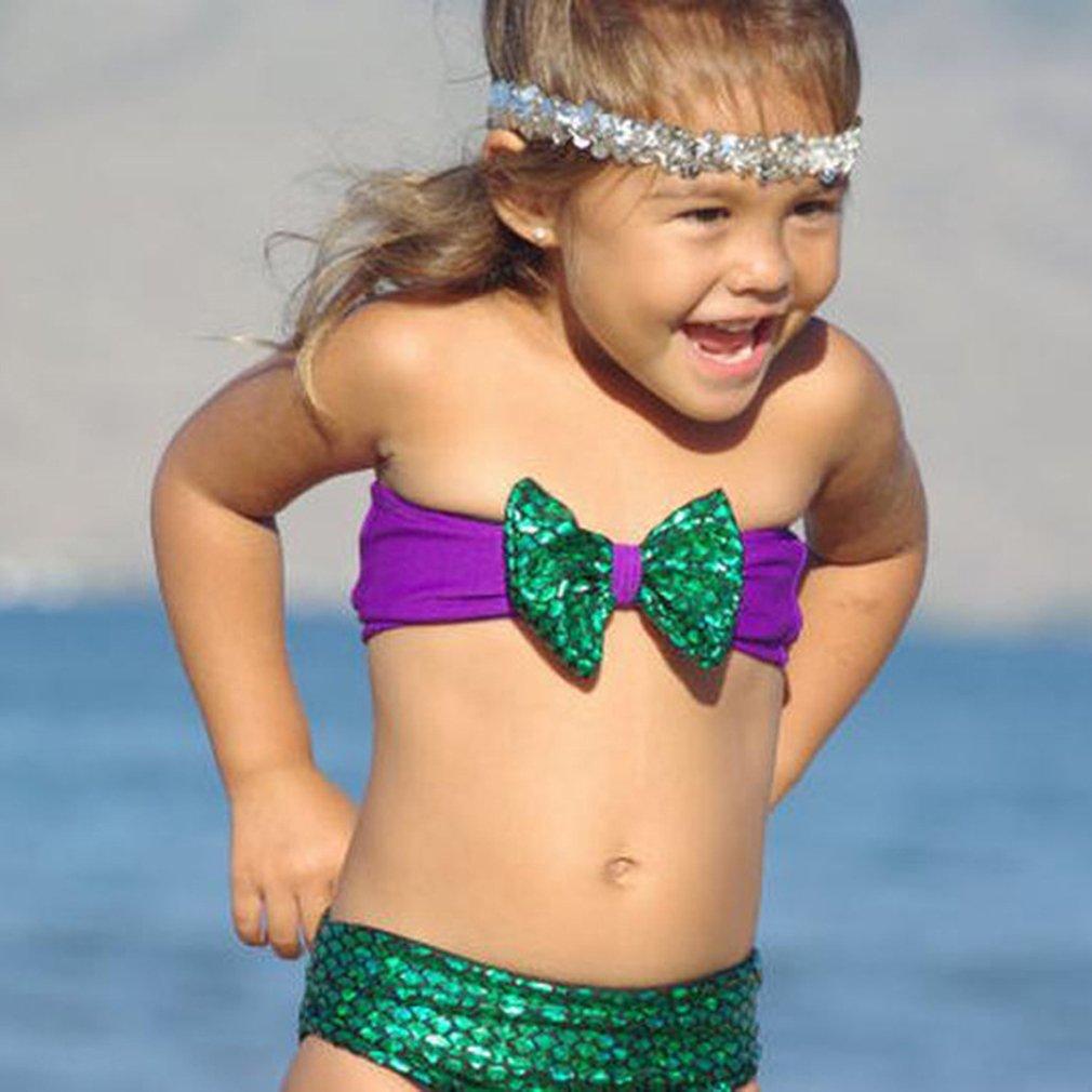 Cute Kids Girls Little Mermaid Bikini Swimwear Bathing Swimsuit Fancy Dress