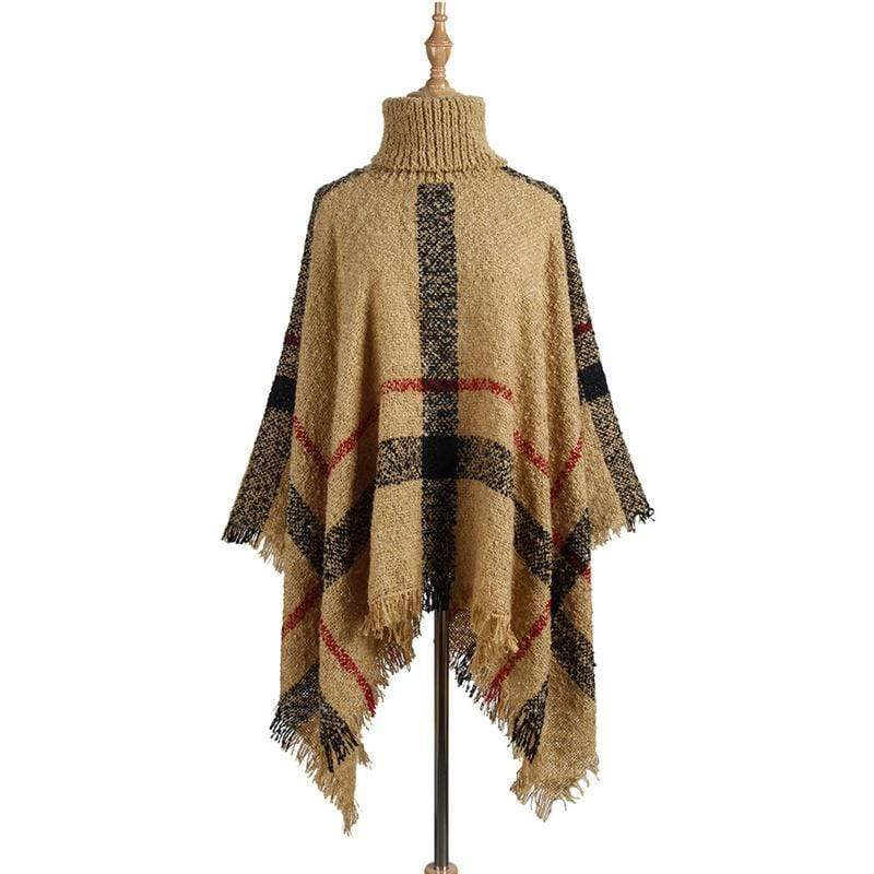 Women's High Collar Fringed Cloak Shawl Loose Sweater