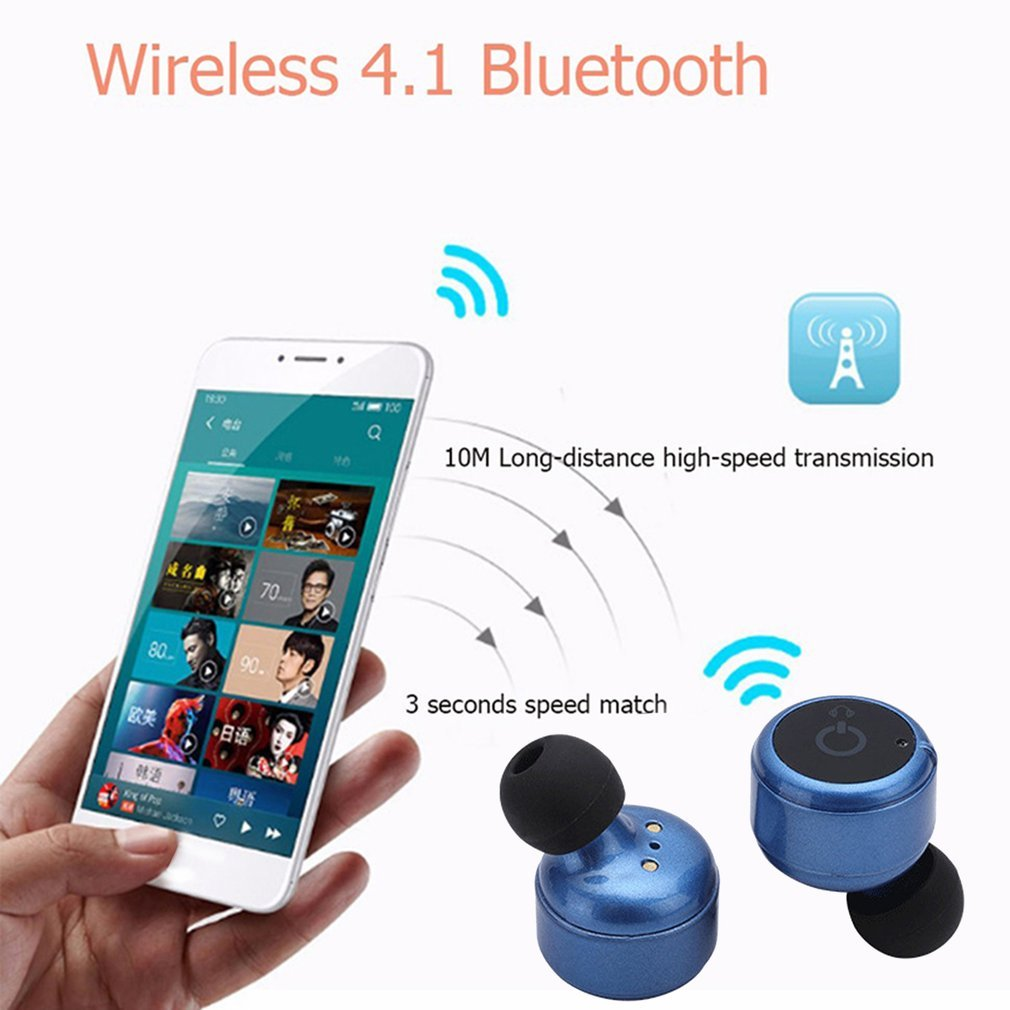 Wireless Earphone Stereo Bluetooth Headset Headphone Voice Prompt Earbuds