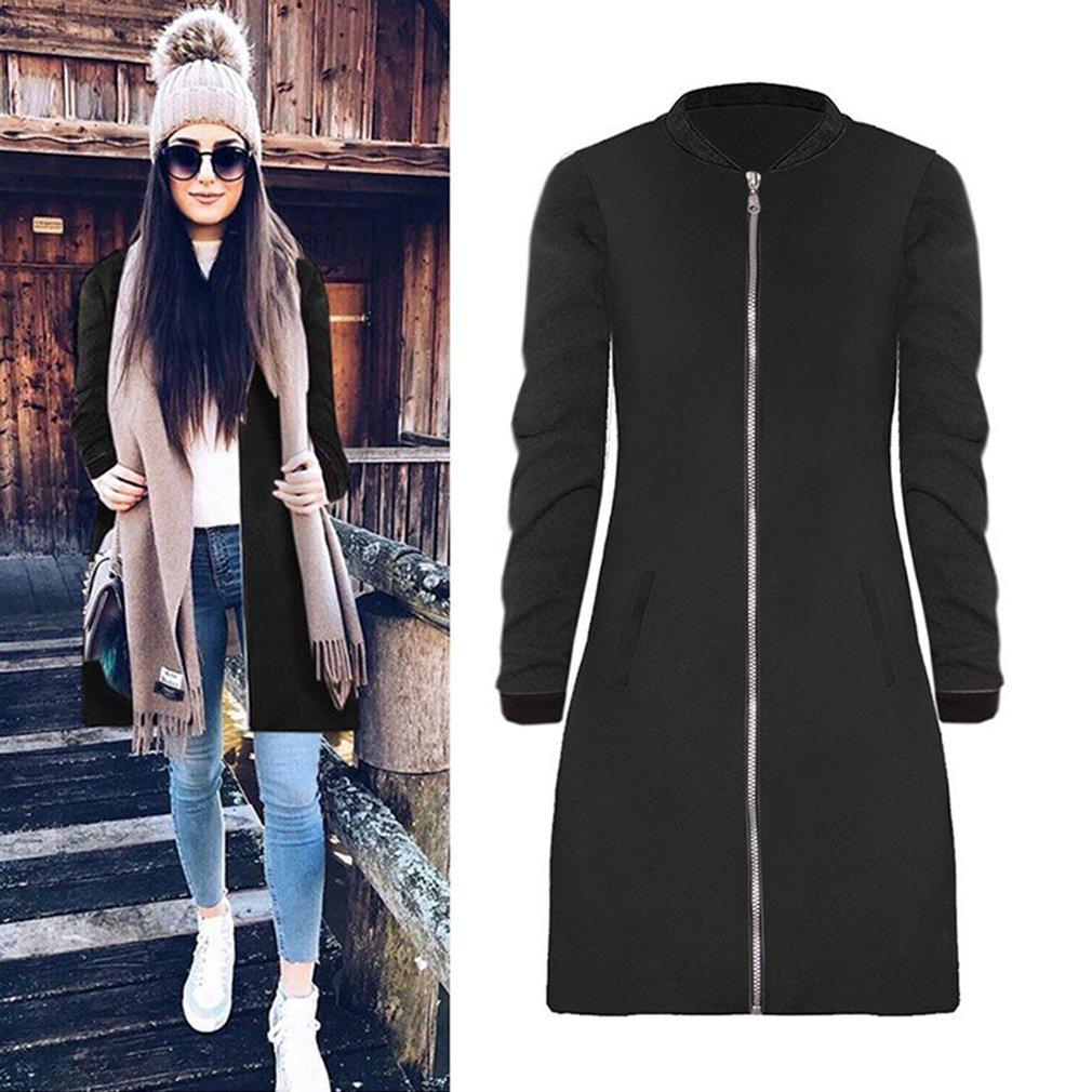 Autumn Winter Women Jacket Coat Slimming Zipper Outerwear Long Woolen Jacket