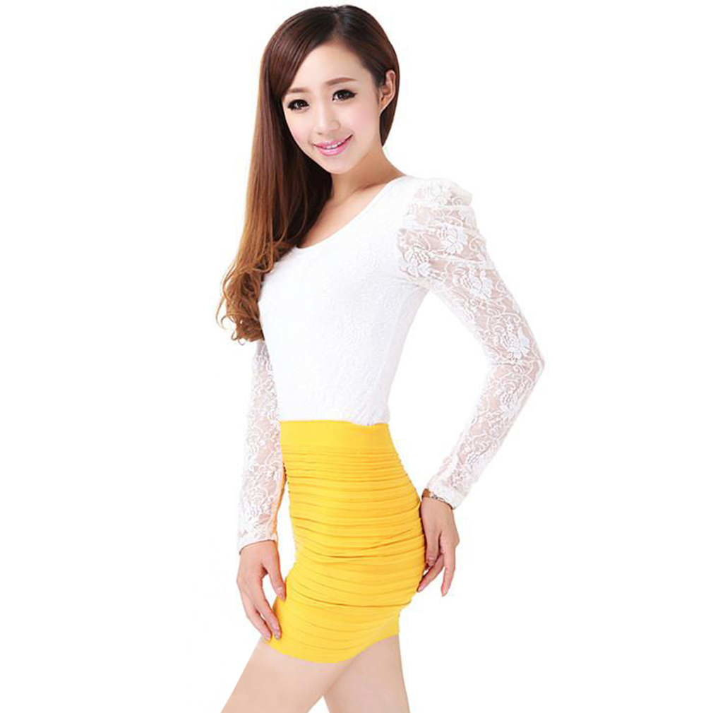 Stylish Sweet Hot Brand New Bandage Stretch Accordion Pleated Skirt