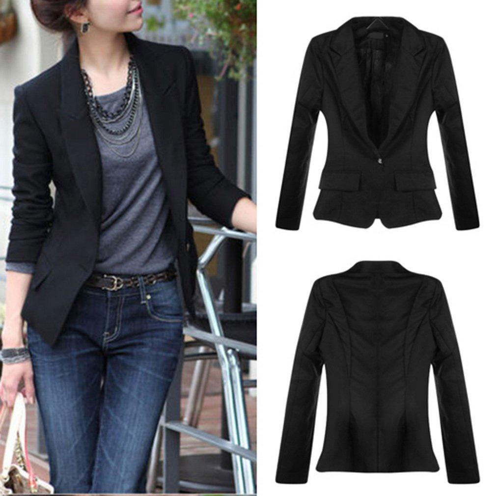 Women Slim One Button Blazer Suit Jacket Coat Long Sleeve Lady Outwear