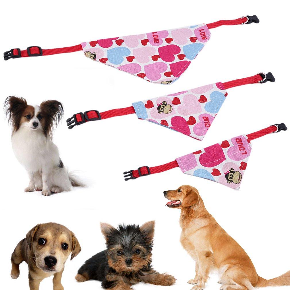 Three Sizes Pet Bib Collars Saliva Towel Triangle Pattern Pet Cat Dog Scarf