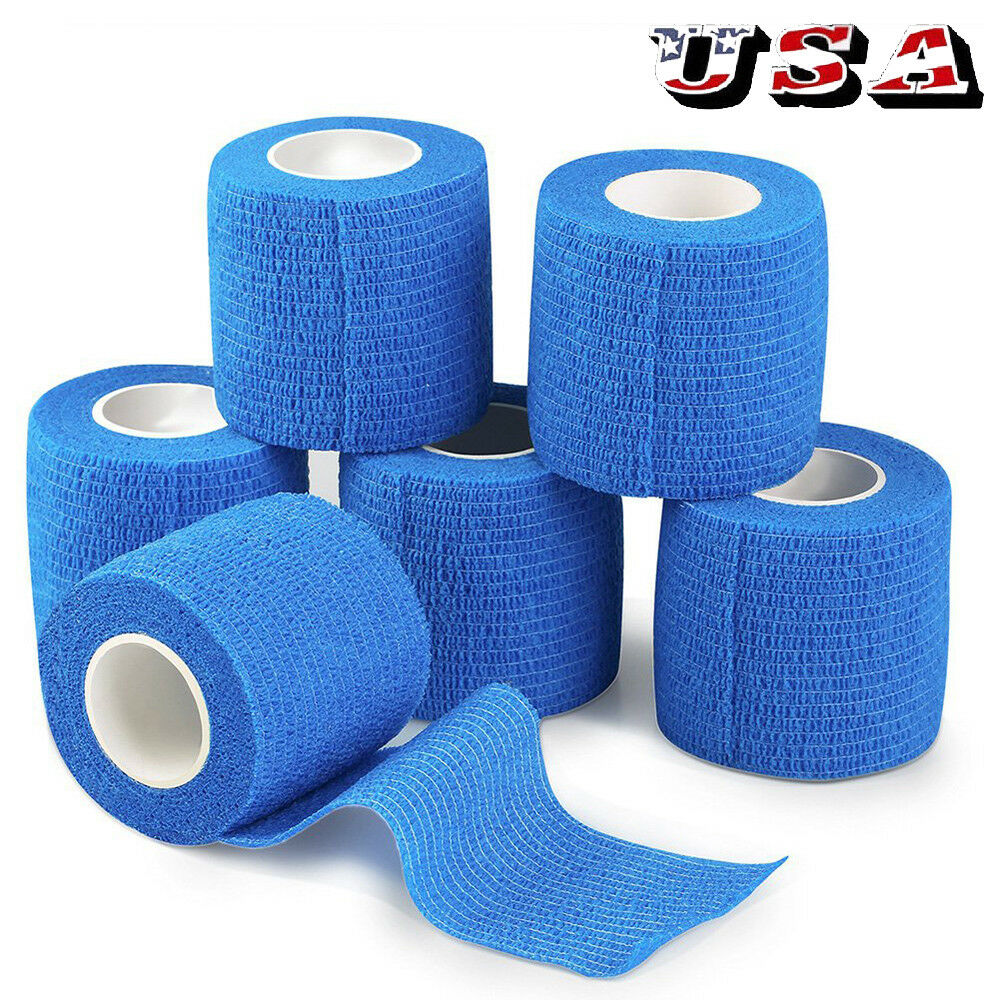 """2""""x5Yd Stretch Elastic Tape Cohesive Bandage First Aid  Wrap Vet -6 Rolls"""