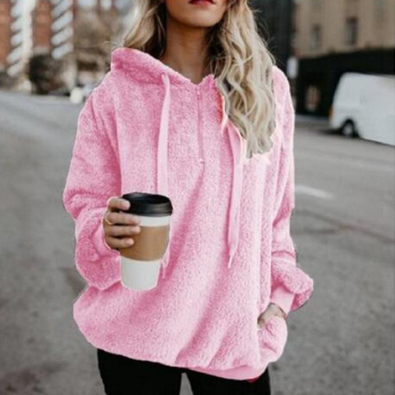 Simple loose hooded suede zip jacket