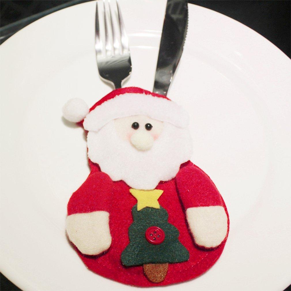 6PCS/SET Cute Christmas Ornament Kitchen Tableware Holder Dinner Cutlery Bag