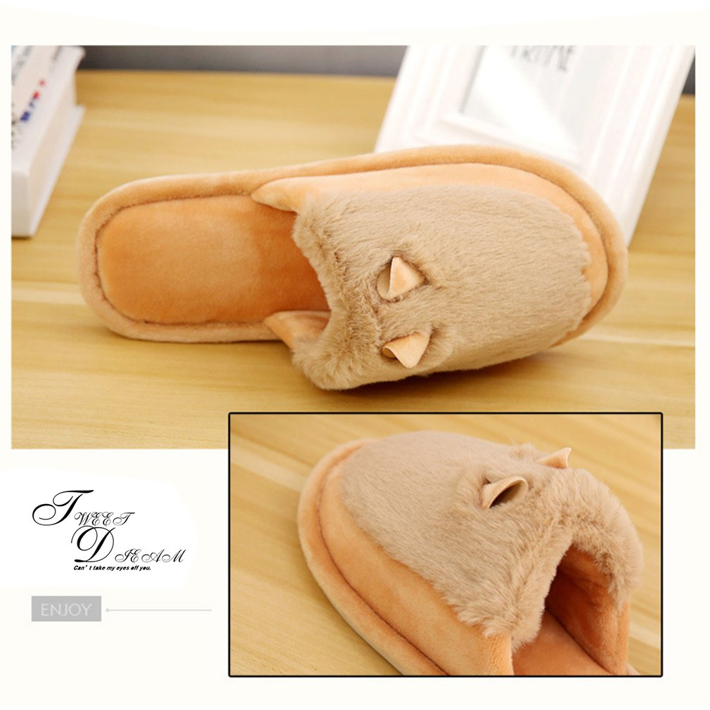Winter Home Anti-skid Quiet Slippers With Fur Warm Indoor Sandals For Lovers