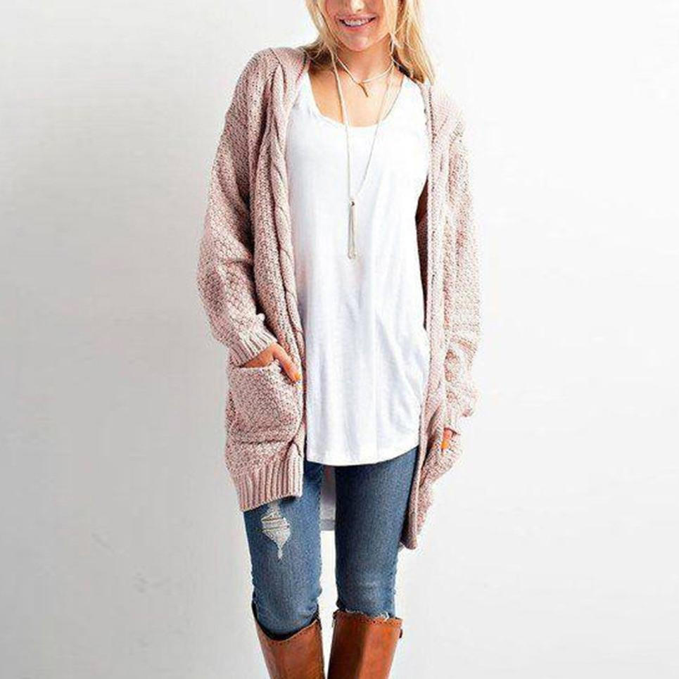 Fashion Solid Pockets Women Sweater Cardigans